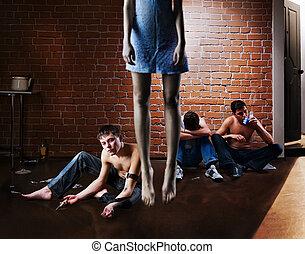 adicción, suicide., problema, droga, social