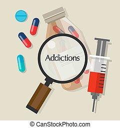 adicciones, drogadictos, píldoras, sobredosis, vector, ilustración, icono