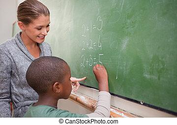 adición, lindo, alumno, profesor, elaboración