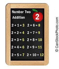 adición, mesas, numere dos