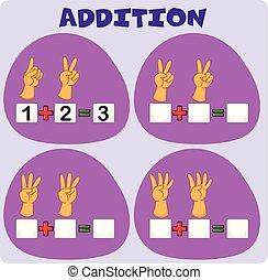 adición, worksheet, con, mano, gestos