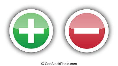 adicionar, sinal, em, verde, botão, e, apagar, sinal, ligado, botão vermelho