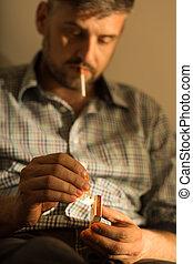 adicto, Cigarrillo, hombre