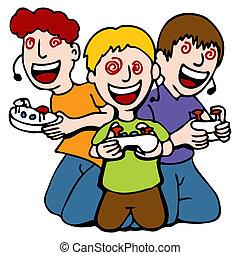 adicto, juego, niños, vídeo