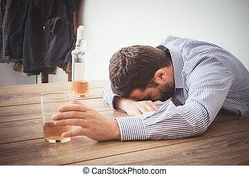 adicto, malo, sentimiento,  Alcohol, hombre