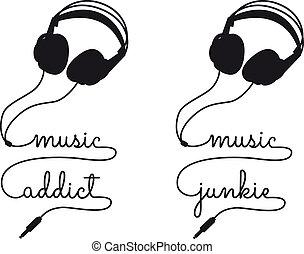 adicto, vector, música, auricular