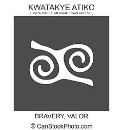 adinkra, kwatakye, ikona, waleczność, atiko., afrykanin, ...