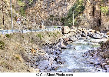 adir-su, canyon, fiume, caucasus.