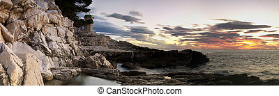 Adiratic panorama sunset - Wide view of the Adriatic sea in...
