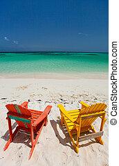 adirondack, カラフルである, 椅子, ラウンジ, カリブ浜