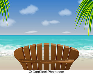 Wooden chair sitting in front of a tropical beach