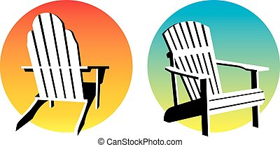 Vector illustrations of holiday, vacation, resort, cottage words with adirondack, muskoka, beach chair and setting sun.