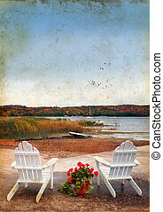 Adirondack Chairs by the Sea on Grunge Background -...