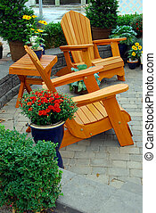adirondack Chairs on a brick patio