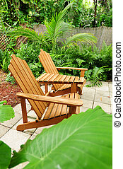 Adirondack chairs outdoors - Backyard with Adirondack chairs...