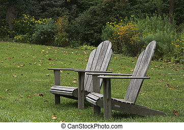 Adirondack Chairs - Two adirondack chairs sitting side by...