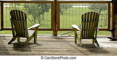 Adirondack Chairs - Two Muskoka Wooden Chairs In An Old Barn...