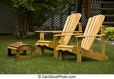 Adirondack charis - A pair of Adirondack chairs in the yard....