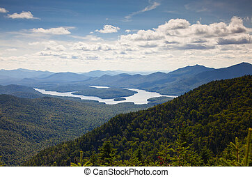 Adirondack mountains forests and lakes landscape view