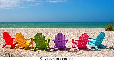 adirondack, sable, plage coquille, vacances, été, chaises