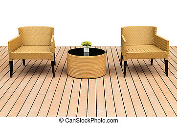 Adirondack wood chairs on a cabin porch