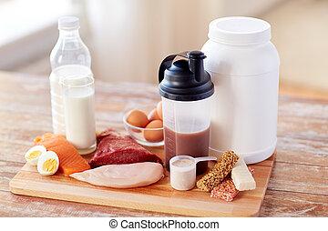 aditivo, alimento, Arriba, cierre,  natural, proteína