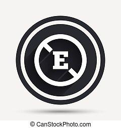 aditivo, alimento, símbolo., señal, sin, e, icon.