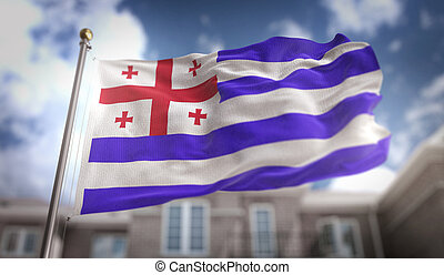 Adjara Flag 3D Rendering on Blue Sky Building Background