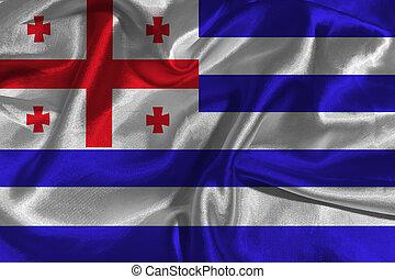 Adjara national flag 3D illustration symbol.