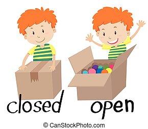 adjective, aberta, fechado, oposta