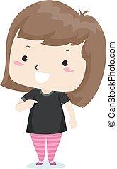 adjective, criança, ilustração, menina preta