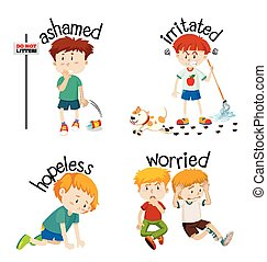 Adjective words with kid expressing their feelings illustration