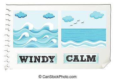 adjectives, contrario, ventoso, calma