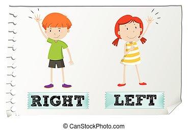 adjectives, direita, esquerda, oposta