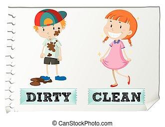 adjectives, dreckige , sauber, gegenüber