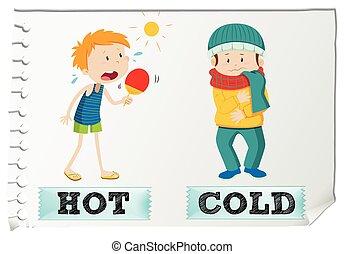 adjectives, oposta, gelado, quentes