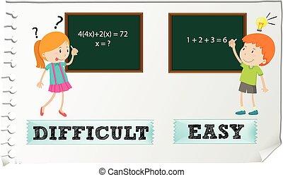 adjectives, tegenoverstaand, gemakkelijk, moeilijk