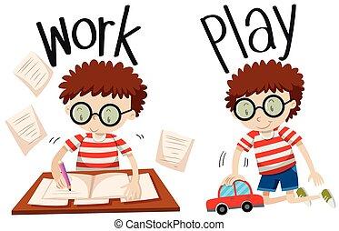adjectives, trabalho, jogo, oposta