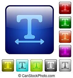 Adjust font width color square buttons