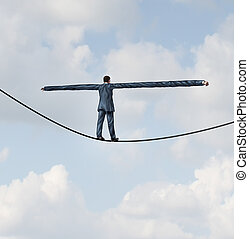 Adjust to risk with leadership solutions as a businessman with extremely stretched out arms for better balance walking on a tight rope to succeed at the road ahead as a business concept of adapting to challenges for strategy success.