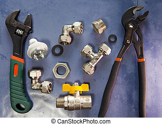 adjust wrench power grip, groove joint pillers and elements of water and gas shutoff valves, flat lay