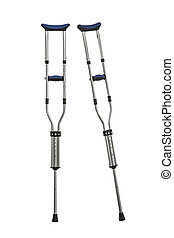 Adjustable Metal Crutches Isolated on White