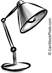 Adjustable table lamp isolated on white. Vector sketch