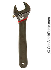 Adjustable wrench isolated on white background.