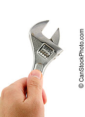 Adjustable Wrench with white background