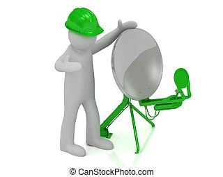 adjuster 3d man in an green helmet adjusts the green satellite