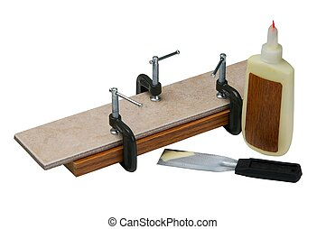 Adjusting clamps. - Adjusting clamps on wood and ceramic...