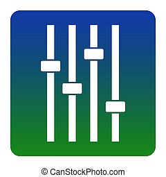 Adjustment music line sign. Vector. White icon at green-blue gradient square with rounded corners on white background. Isolated.