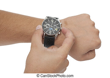 adjustment of the watch on white background