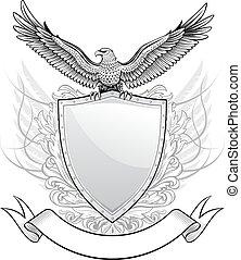 adler, emblem, schutzschirm